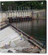 Dam Repairs  Along The Androscoggin River Acrylic Print