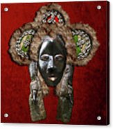 Dan Dean-gle Mask Of The Ivory Coast And Liberia On Red Velvet Acrylic Print by Serge Averbukh