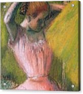 Dancer Arranging Her Hair Acrylic Print by Edgar Degas