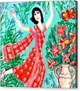 Dancer In Red Sari Acrylic Print