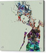 Dancer Watercolor Splash Acrylic Print