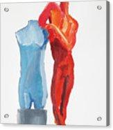 Dancer With Mannekin Acrylic Print