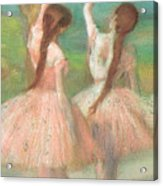 Dancers In Pink Acrylic Print by Edgar Degas