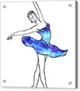 Dancing Ballerina Frosted Blue Acrylic Print