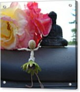 Dancing Before Buddha And Roses Acrylic Print