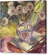 Dandelions Flowers In A Vase Sunny Still Life Painting Acrylic Print