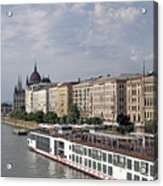 Danube Riverside With Old Buildings Budapest Hungary Acrylic Print