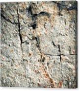 Dark Fissures On Limestone Rock Acrylic Print
