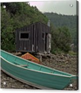 Dark Harbour Fisherman Shack And Boat Acrylic Print