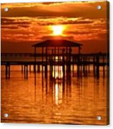 0209 Dark Orange Sunrise On Sound Acrylic Print