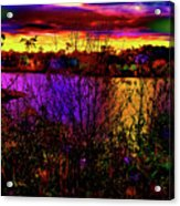 Dark Psychedelic Sunset Acrylic Print