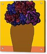 Dark Rose Folk Art Acrylic Print