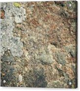 Dark Sandstone Surface With Moss Acrylic Print