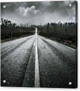 Dark Stormy Road To Cradle Mountain In Tasmania Acrylic Print