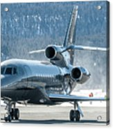 Dassault Falcon 900 Parking With Marshaller Acrylic Print