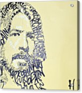 Dave Grohl Word Portrait With The Word Kurt Cobain Acrylic Print
