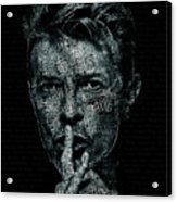 David Bowie Text Portrait - Typographic Poster With Album Titles And Background With Songs Names Acrylic Print