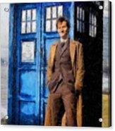 David Tennant As Doctor Who And Tardis Acrylic Print by Elizabeth Coats