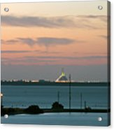 Dawn At The Sunshine Skyway Bridge Viewed From Tierra Verde Florida Acrylic Print