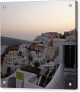 Dawn In Oia Santorini Greece Acrylic Print
