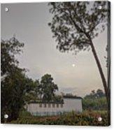 Dawn Moon Over Chinese Garden Singapore Acrylic Print