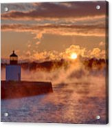 Dawn Peeking Over At Derby Lighthouse Acrylic Print
