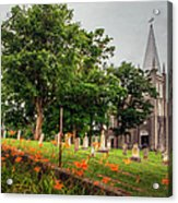 Day Lilies By A Church  Acrylic Print