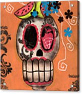 Day Of The Dead Watermelon Acrylic Print by  Abril Andrade Griffith