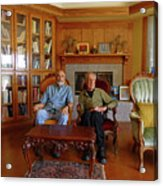 Db6362 Ed Cooper With Fred Beckey In Library 2013 Acrylic Print