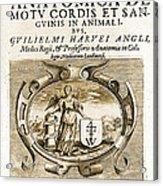 De Motu Cordis, Title Page, William Acrylic Print