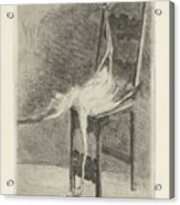 Dead Flamingo With The Legs Tied To The Handrail Of A Chair, Adriaan Pit, 1870 - 1896 Acrylic Print