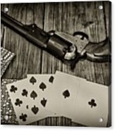 Dead Mans Hand Black And White Acrylic Print