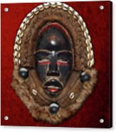 Dean Gle Mask By Dan People Of The Ivory Coast And Liberia On Red Velvet Acrylic Print by Serge Averbukh
