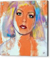 Debbie Harry - Orange Funky Grunge Acrylic Print