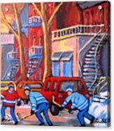 Debullion Street Hockey Stars Acrylic Print by Carole Spandau