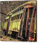 Decaying Trolley Cars Acrylic Print