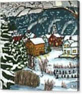 December Village Silk Painting Acrylic Print