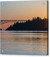 Deception Pass Bridge Sunset Sunstar Acrylic Print