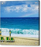 Deck Chairs And Distant Rainbow Acrylic Print