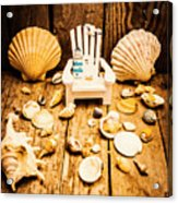Deckchairs And Seashells Acrylic Print