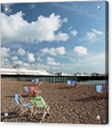 Deckchairs On Brighton Beach Acrylic Print