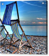 Deckchairs On The Shingle Acrylic Print