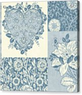 Deco Heart Blue Acrylic Print by JQ Licensing