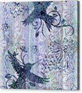 Deco Hummingbird Blue Acrylic Print