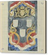 Decorative Design With The National Coat Of Arms, Flags And Banners, Carel Adolph Lion Cachet, 1874  Acrylic Print