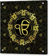 Decorative Gold Ek Onkar / Ik Onkar  Symbol Acrylic Print