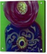 Decoupaged Vase With Fabric Flower Acrylic Print