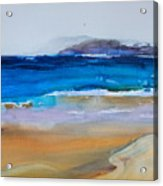 Deep Blue Sea And Golden Sand Acrylic Print