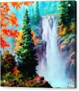 Deep Jungle Waterfall Scene. L A  Acrylic Print
