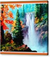 Deep Jungle Waterfall Scene L B With Decorative  Ornate Printed Frame. Acrylic Print
